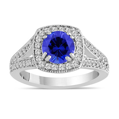 Blue Sapphire And Diamond Engagement Ring 1.58 Carat 14K White Gold Bridal Ring Handmade