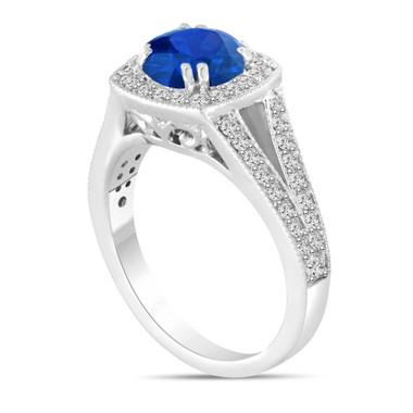 Platinum Blue Sapphire And Diamond Engagement Ring 1.58 Carat Bridal Ring Handmade Halo
