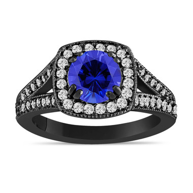 Blue Sapphire And Diamond Engagement Ring 1.58 Carat Vintage Style 14K Black Gold Bridal Ring Handmade Halo