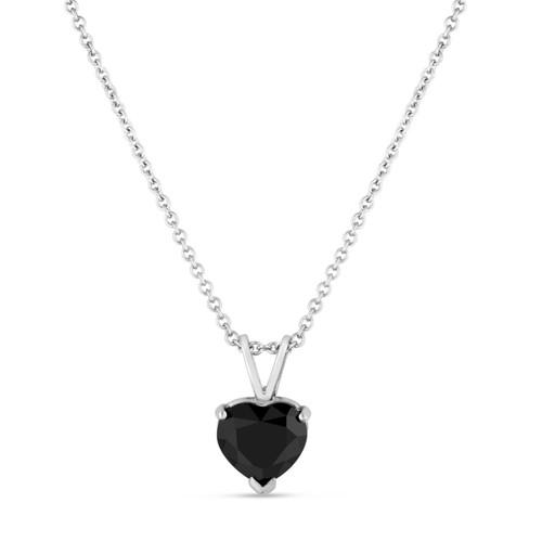 Heart Shape Black Diamond Solitaire Pendant Necklace 1.70 Carat 14K White Gold HandMade