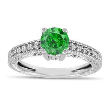 Green Diamond Engagement Ring, Vintage Style Wedding Ring, 14K White Gold 0.66 Carat Unique Antique Style Engraved handmade