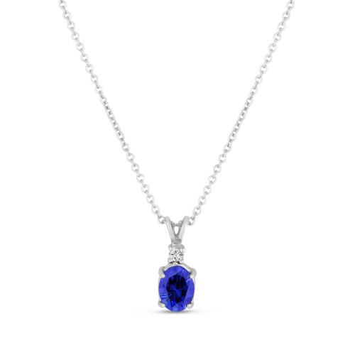 Oval Blue Sapphire & Diamond Solitaire Pendant Necklace 14K White Gold 1.28 Carat HandMade