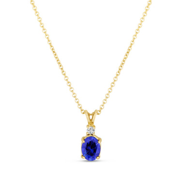 Oval Blue Sapphire & Diamond Solitaire Pendant Necklace 14K Yellow Gold 1.28 Carat HandMade