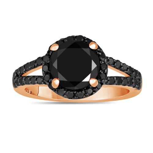 2.44 Carat Fancy Black Diamond Engagement Ring Halo 14K Rose Gold Handmade Split Shank