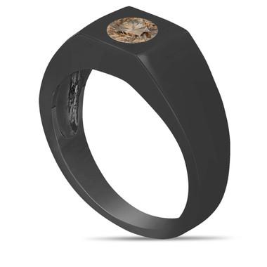 Champagne Brown Diamond Solitaire Men's Wedding Ring Vintage Style 14K Black Gold 0.47 Carat HandMade