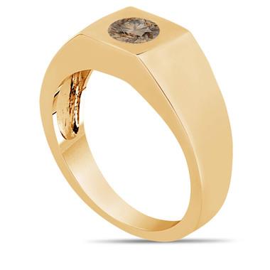 Champagne Brown Diamond Solitaire Men's Wedding Ring 14K Yellow Gold 0.47 Carat HandMade Mans Ring