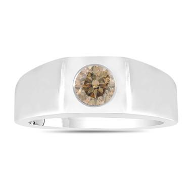 Champagne Brown Diamond Solitaire Men's Wedding Ring 14K White Gold 0.47 Carat HandMade Mans Ring