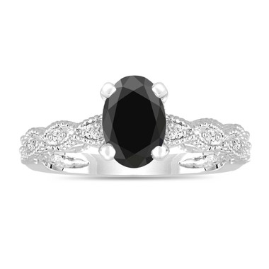 Fancy Oval Black Diamond Engagement Ring 14K White Gold Antique Style Engraved 1.12 Carat Handmade Certified