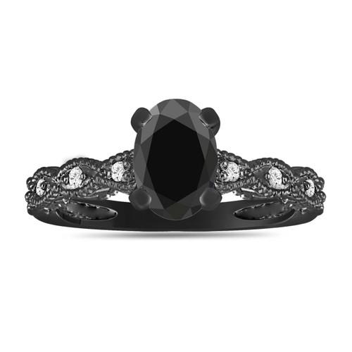 1.12 Carat Fancy Oval Black Diamond Engagement Ring Vintage Style 14K Black Gold Antique Style Engraved Handmade Certified