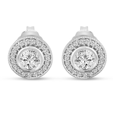 Diamond Stud Earrings 14K White Gold 0.84 Carat Bezel And Micro Pave Set HandMade Halo