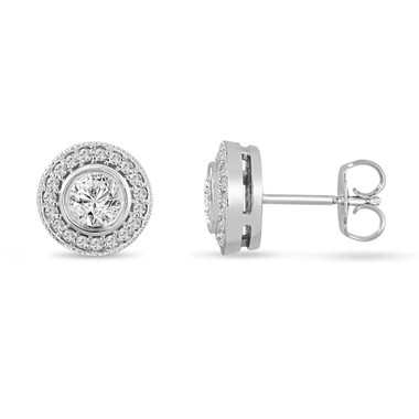 Platinum Diamond Stud Earrings 0.84 Carat Bezel And Micro Pave Set HandMade Halo