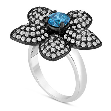 Fancy Blue Diamond Flower Engagement Ring 2.66 Carat 14K Black And White Gold Vintage Style Handmade Unique