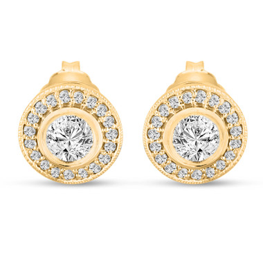 Diamond Stud Earrings 14K Yellow Gold 0.84 Carat Bezel And Micro Pave Set HandMade Halo Pink Gold