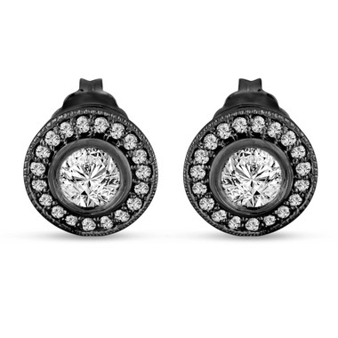 Diamond Stud Earrings Vintage Style 14K Black Gold 0.84 Carat Bezel And Micro Pave Set HandMade Halo