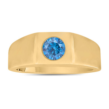 Fancy Blue Diamond Solitaire Men's Wedding Ring 14K Yellow Gold 0.46 Carat HandMade Mans Ring