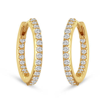 "Diamonds Hoop Earrings 0.75"" inch 14K Yellow Gold 0.86 Carat HandMade"