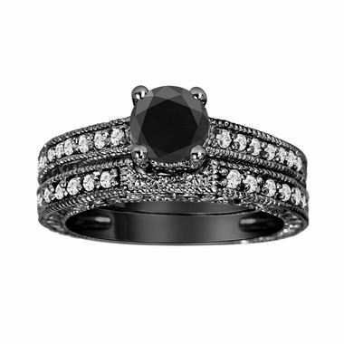 Platinum Black Diamond Engagement Ring And Wedding Band Sets 1.32 Carat Vintage Style Certified HandMade