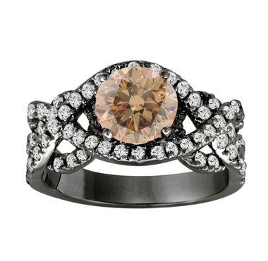 Brown Champagne Diamond Engagement Ring 14K Black Gold Vintage Style 1.90 Carat Certified Unique Handmade Ring