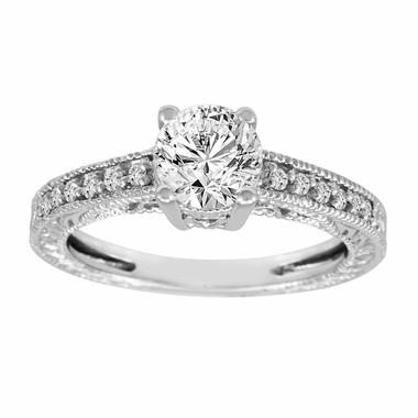 Filigree Diamond Engagement Ring 14K White Gold 1.15 Carat Certified HandMade Vintage Style Engraved Pave Set