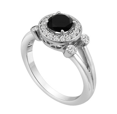 Platinum Fancy Black Diamond Engagement Ring 1.03 Carat Unique Halo Certified handmade