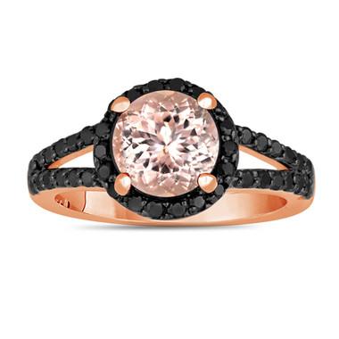 Pink Morganite And Black Diamonds Engagement Ring 2.04 Carat Halo 14K Rose Gold Handmade