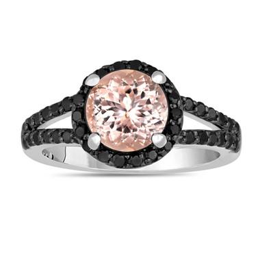 Pink Morganite And Black Diamond Engagement Ring 2.04 Carat Halo 14K White Gold Handmade