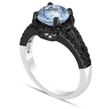 Aquamarine And Black Diamond Engagement Ring 2.14 Carat Halo 14K Black Gold & White Gold Vintage Style Handmade