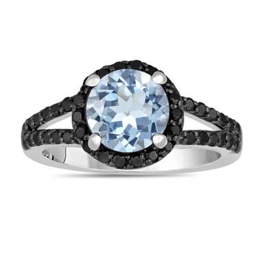 Aquamarine And Black Diamond Engagement Ring 2.14 Carat Halo 14K White Gold Handmade