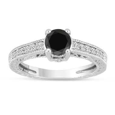 Platinum Black Diamond Engagement Ring Vintage Antique Style Engraved 1.24 Carat Certified HandMade