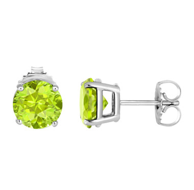 Green Peridot Stud Earrings 14K White Gold 2.00 Carat Handmade Birthstone