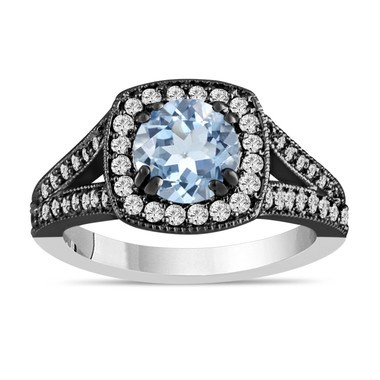 Aquamarine Engagement Ring Aquamarine And Diamond Engagement Ring 1.46 Carat Vintage Style 14K White Black Gold Bridal Ring Handmade Halo