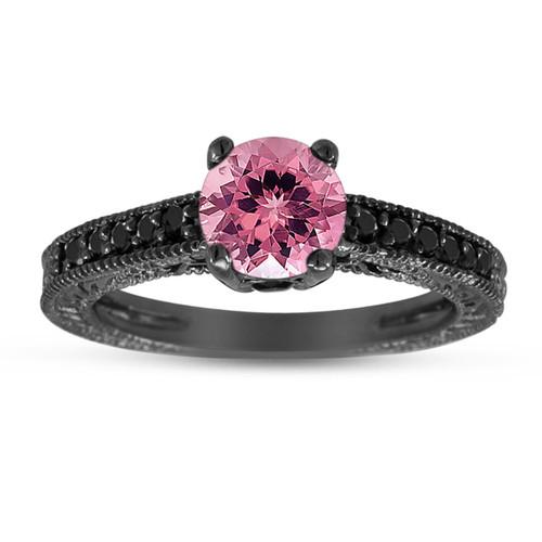 Pink Tourmaline & Black Diamond Engagement Ring 14K Black Gold 1.12 Carat Antique Vintage Style Engraved handmade
