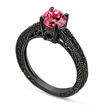 Pink Tourmaline & Black Diamond Engagement Ring 14K Black Gold 0.76 Carat Antique Vintage Style Engraved handmade