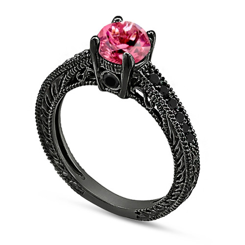 Pink Tourmaline & Black Diamond Engagement Ring 14K Black Gold 0.76 Carat Antique Vintage Style Engraved handmade