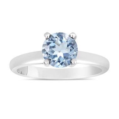 Aquamarine Solitaire Engagement Ring 1.00 Carat 14K White Gold handmade Certified