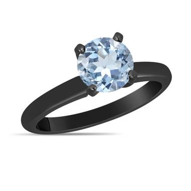Aquamarine Solitaire Engagement Ring 1.70 Carat 14K Black Gold vintage style Certified handmade