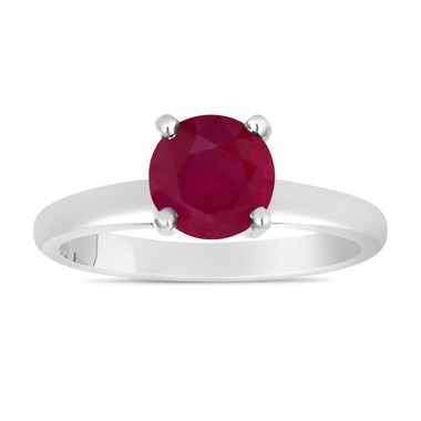 Ruby Solitaire Engagement Ring 1.00 Carat 14K White Gold handmade Certified