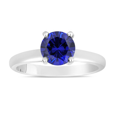 Sapphire Solitaire Engagement Ring 1.00 Carat 14K White Gold handmade Certified