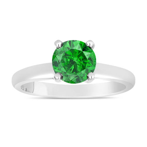 Fancy Green Diamond Solitaire Engagement Ring 0.74 Carat 14K White Gold Certified HandMade