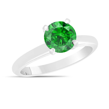 Fancy Green Diamond Solitaire Engagement Ring 1.00 Carat 14K White Gold Certified HandMade