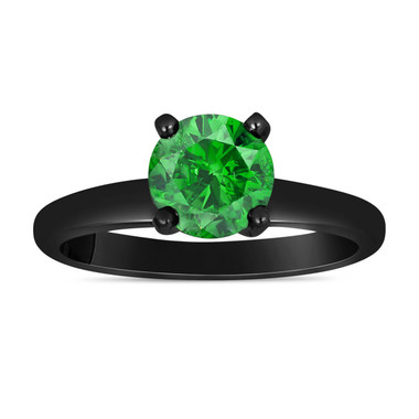 Fancy Green Diamond Solitaire Engagement Ring 0.74 Carat 14K Black Gold Vintage Style Certified HandMade