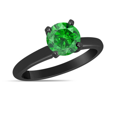 Fancy Green Diamond Solitaire Engagement Ring 1.00 Carat 14K Black Gold Vintage Style Certified HandMade