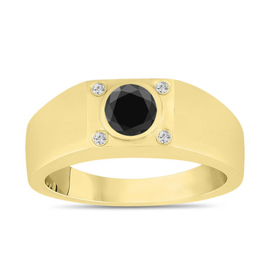 Black Diamond Mens Wedding Ring Yellow Gold, Black and White Diamond Solitaire Mens Ring, Handmade 0.55 Carat