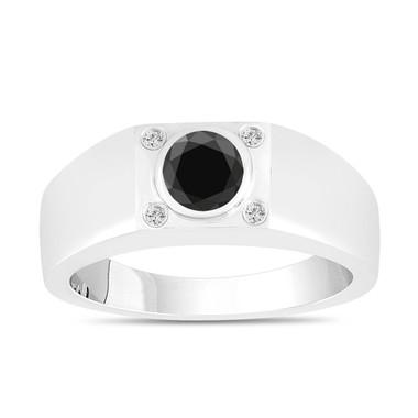 Black and White Diamond Solitaire Mens Ring 14K White Gold HandMade 0.55 Carat