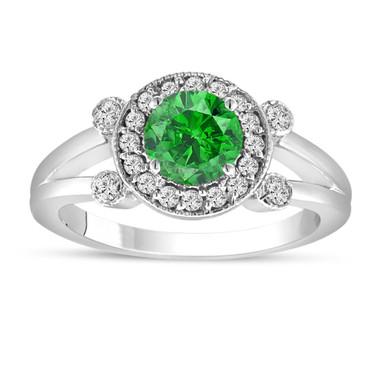 Fancy Green Diamond Engagement Ring 14k White Gold Unique Halo 1.03 Carat Handmade