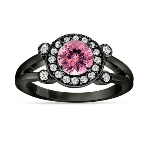 Pink Tourmaline and Diamond Engagement Ring 14k Black Gold Vintage Style Unique Halo 1.12 Carat Handmade