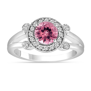 Pink Tourmaline and Diamond Engagement Ring 14k White Gold Unique Halo 1.12 Carat Handmade