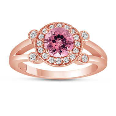 Pink Tourmaline and Diamond Engagement Ring 14k Rose Gold Unique Halo 1.12 Carat Handmade