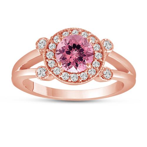 Pink Tourmaline and Diamond Engagement Ring 14k Rose Gold Unique Halo 1.12 Carat Handmade