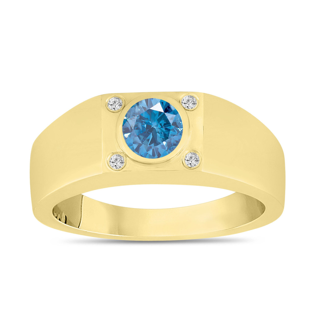 Fancy Blue Diamond Solitaire Mens Ring 14k Yellow Gold 0 55 Carat